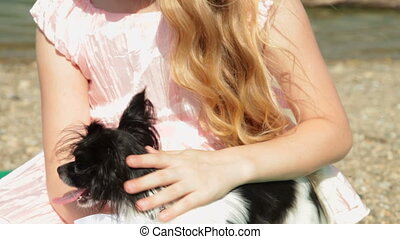 Little Girl with Chihuahua - Little Blonde Girl with...