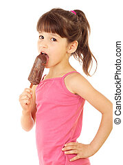 Little girl with chocolate ice cream, isolated on white