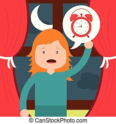little girl with clock wake up window background