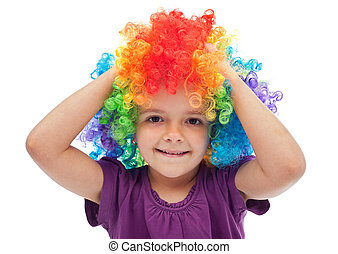 Little girl with clown hair - portrait