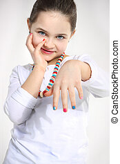 girl with colored nails