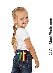 Little girl with colored pencils in back pocket - isolated