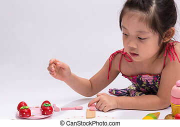 Little Girl with Cooking Toy Set / Little Girl with Cooking Toy Set Background