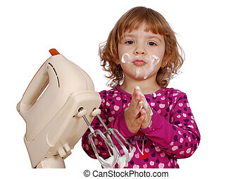 little girl with cream