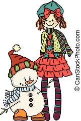 Little girl with cute snowman