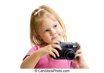 little girl with digital camera isolated