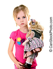 Little Girl with Doll Isolated on White Background