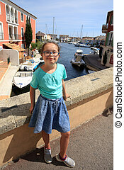 Little girl with down syndrome in Mediterranean city
