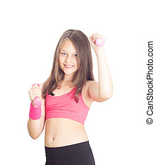 little girl with dumbbells on a white background