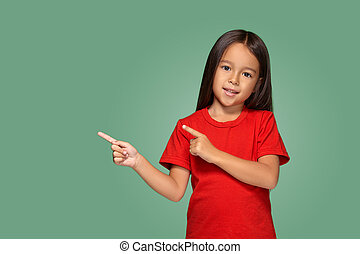 Little girl with fingers to the side