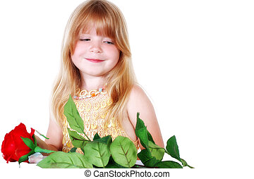 little girl with flower isolated on white