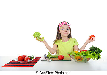 little girl with fresh vegetables. Isolated on white ...