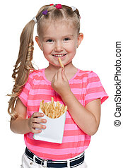 Little girl with fries