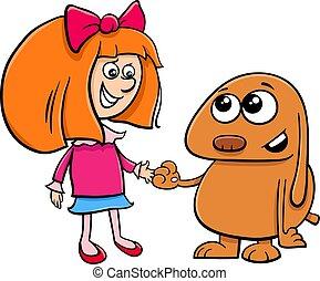 little girl with funny dog cartoon illustration