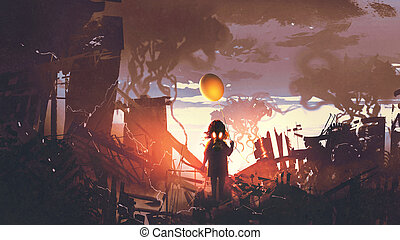 girl with gas mask holding balloon standing in apocalypse cit