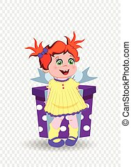 little girl with ginger hair holding big gift box on transparent background.