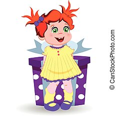 little girl with ginger hair holding big gift box on white background.