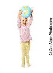 girl with globe isolated on white