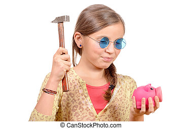 Little girl with hammer and piggy bank  isolated on white