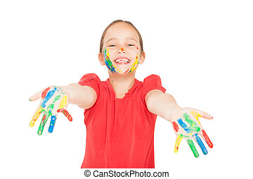 little girl with hands in the paint