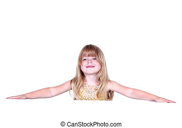 little girl with hands isolated on white