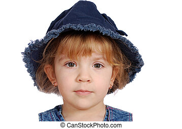 little girl with hat