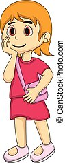 Little girl with her bag Cartoon