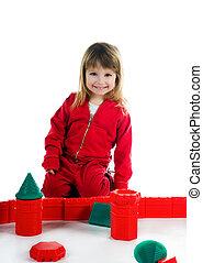 Little girl with her blocks