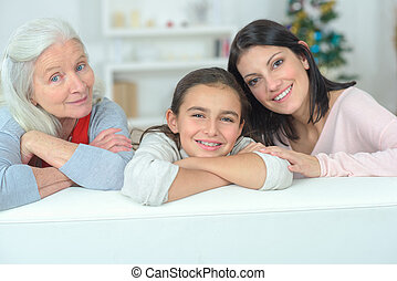 Little girl with her grandma and mother