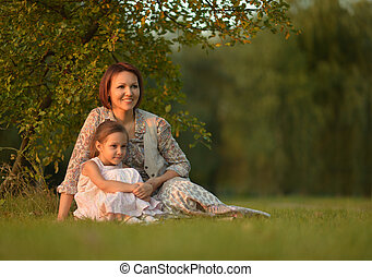girl with her mother