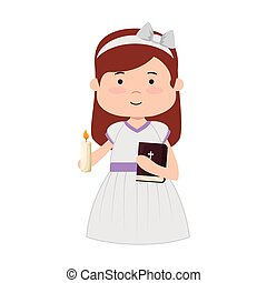 little girl with holy bible first communion character