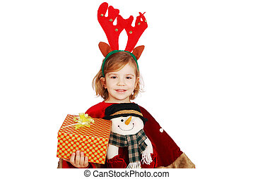 little girl with horn on head