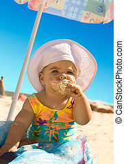 Little Girl with ice cream - The little girl on the beach...