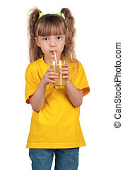 Little girl with juice