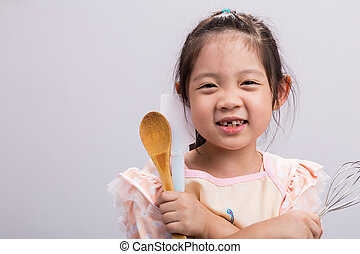 Little Girl with Kitchenware / Little Girl with Kitchenware Background