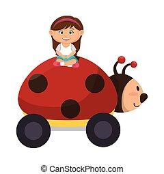 little girl with ladybug toy