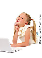 Little girl with laptop on white background