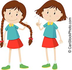 Little girl with long and short hair illustration