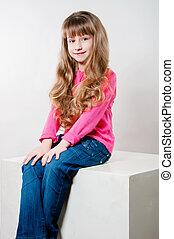 little girl with long hair