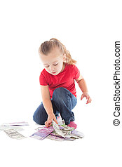 little girl with lots of money