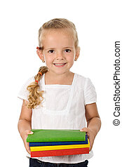Little girl with lots of school books