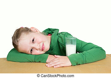 Little girl with milk isolated on white background.