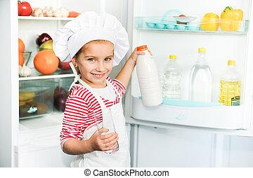 little girl  with milk