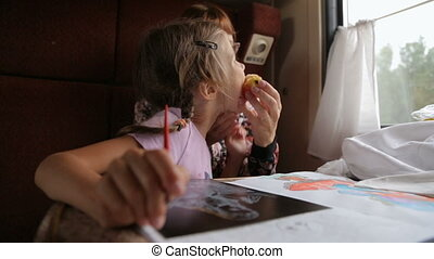 Little girl with mother in the train