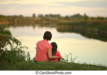 Little girl with mother