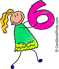 number six - little girl with number six  - toddler art