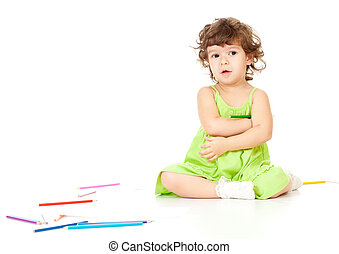 Little girl with pencils