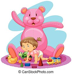 Little girl with pink bear and toys