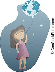 Little girl with planet Earth on blue background