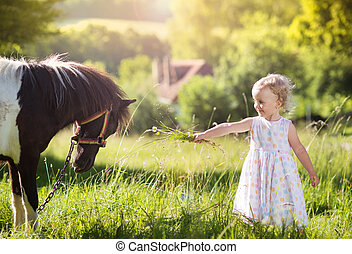 Little girl with pony in nature